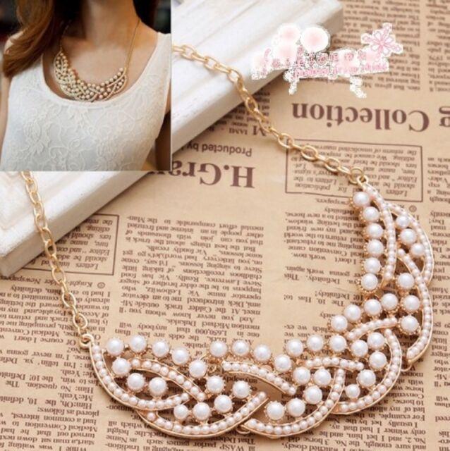 Fashion New Elegant Imitation Pearl Hollowed Golden Choker Bib Collar Necklace
