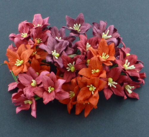 PACK 5 MIXED RED LILY FLOWERS GREAT FOR  CRAFTS-CAKES-FAVOURS