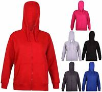 Womens Long Sleeve Ladies Hoody Zip Pouch Sweatshirt Hooded Jacket Top Plus Size