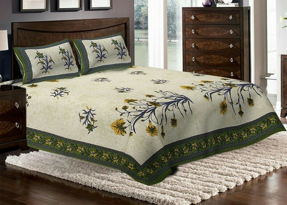 Rajasthani Traditional Floral Print 100% Cotton Bed Sheet With 2 Pillow Covers