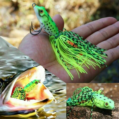 5 X Frog Fishing Lures Soft Plastic Baits Lure Surface Hook Bait Top Water