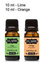 Set Of 2 10 Ml Bottles Of Essential Oil, 100% Pure, Lime, Orange