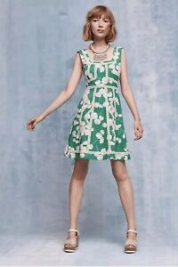 Anthropologie-Emma-Dress-By-Maeve-Green-Floral-Fit-Flare-Size-Sz-8