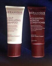 KERANIQUE Scalp Stimulating Shampoo & Volumizing Keratin Conditioner 1 oz/ each