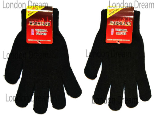 Mens Boys Thermal Gloves Winter Warm Knitted Stretch HIGH QUALITY Black One Size