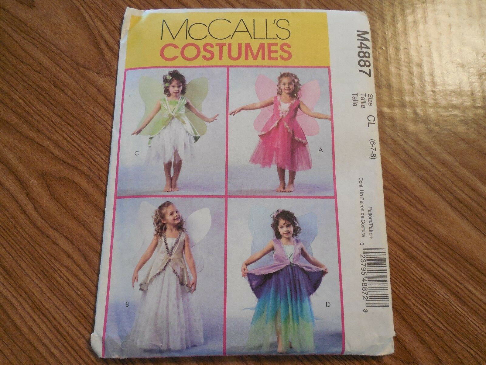 McCalls Childrens Sewing Pattern 4887 Fairy Costumes with Wings McCalls-4887-M
