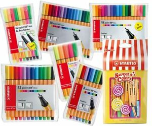 Stabilo-Point-88-MINI-Fineliner-Drawing-Art-0-4-Pens-Neon-Colours-ALL-packs