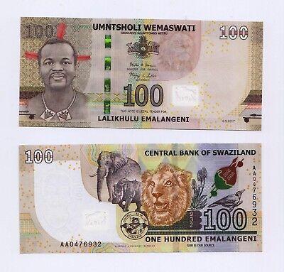 New:SWAZILAND 100 Emalangeni  Banknote - UNC 2018 Pick New 2018