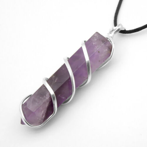 AMETHYST Crystal Point Silver Wire Wrapped Pendant Chakra Necklace HANDMADE Heal