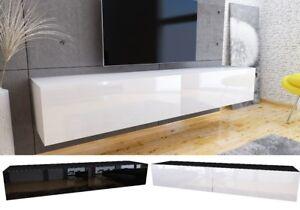 tv lowboard schrank h ngeboard board mit hochglanz mdf 19 mm wei eiche 180 cm ebay. Black Bedroom Furniture Sets. Home Design Ideas