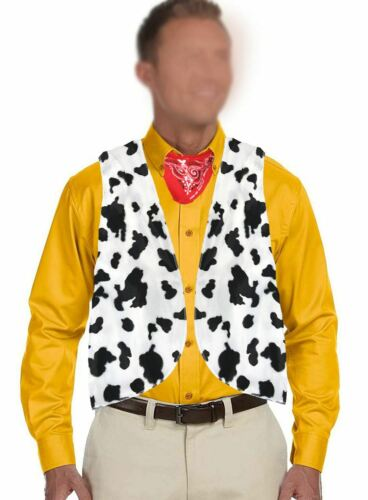 Adult Black /& White Cow Print Cowboy Cowgirl Waistcoat Woody Fancy Dress