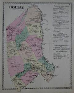 Original 1872 School District Map HOLLIS York County Maine Railroad