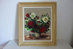 Peinture-huile-sur-toile-roses-rouges-et-blanches