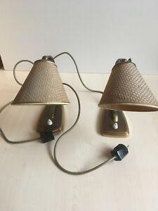 Details Zu 2 Nachttischlampen Tischlampen Messing Schirm Geflecht Vintage Raritat