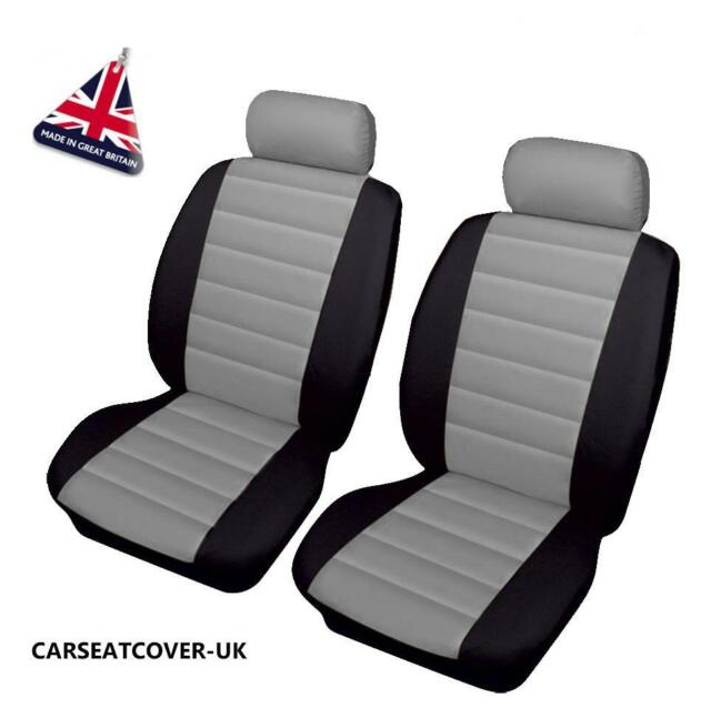 MERCEDES C-CLASS SPORTS - Front PAIR of Grey/Black LEATHER LOOK Car Seat Covers