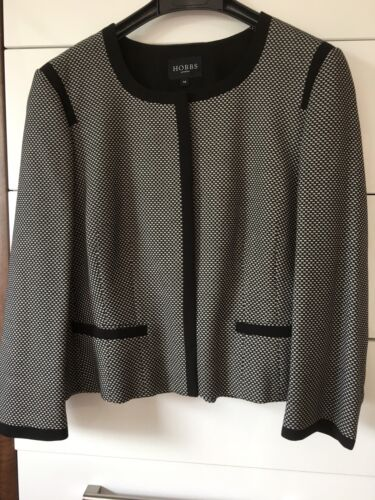 Rrp Beautiful white Black Size Jacket £225 Nwot 14 Hobbs 0w7qS0d