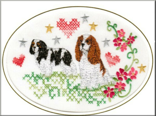 Cavalier King Charles Spaniel Birthday Card or Notecard Embroidered by Dogmania