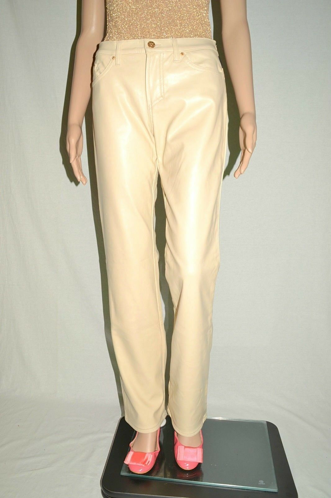 VERSACE Luxury New damen Vtg Ivory Fashion Faux Leather Trousers sz IT 30 AT25
