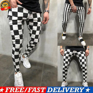 2019-Men-039-s-Slim-Pants-Striped-Plaid-Comfort-Tights-Fitness-Jogging-Casual-Pants