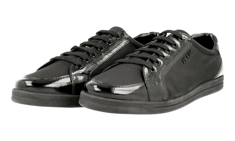 LUXUS PRADA SAFFIANO SNEAKER SCHUHE 3E5892 black NEU NEW 39,5 40 UK 6.5