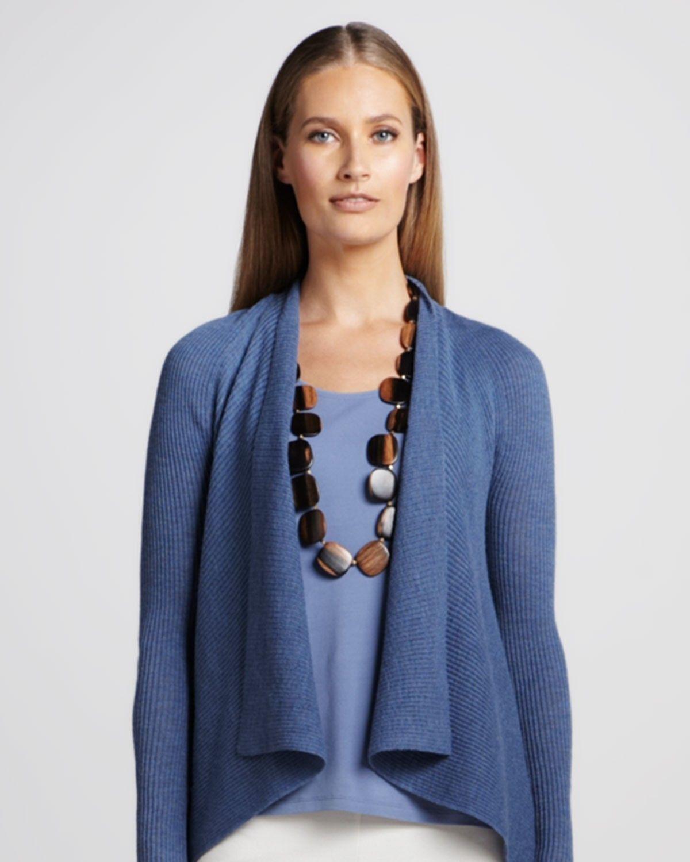 248 Eileen Fisher Washable Wool Diagonal Air Lupine Rib Shawl Collar Cardigan c2ca73