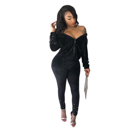Women Fall Hooded Long Sleeve Beading Zipper Solid Velvet Jumpsuit Casual 2pcs