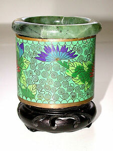 Lovely-Antique-Chinese-Folkart-Jade-amp-Cloisonne-Brush-Pot-W-Attached-Wood-Stand