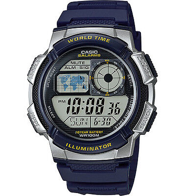 Casio AE1000W-2AV Men's Blue Resin Band 5 Alarms Chronograph World Time Watch