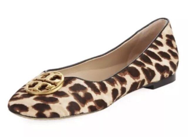 b4e9a31e76a Tory Burch Chelsea Calf Hair Leopard Print Women s Ballerina Flat Sz 7.5 M  4582
