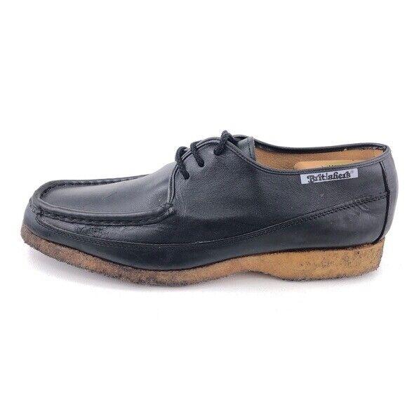The Original Britishers Black Leather Oxfords Mens Size 12 Natural Crepe Rubber
