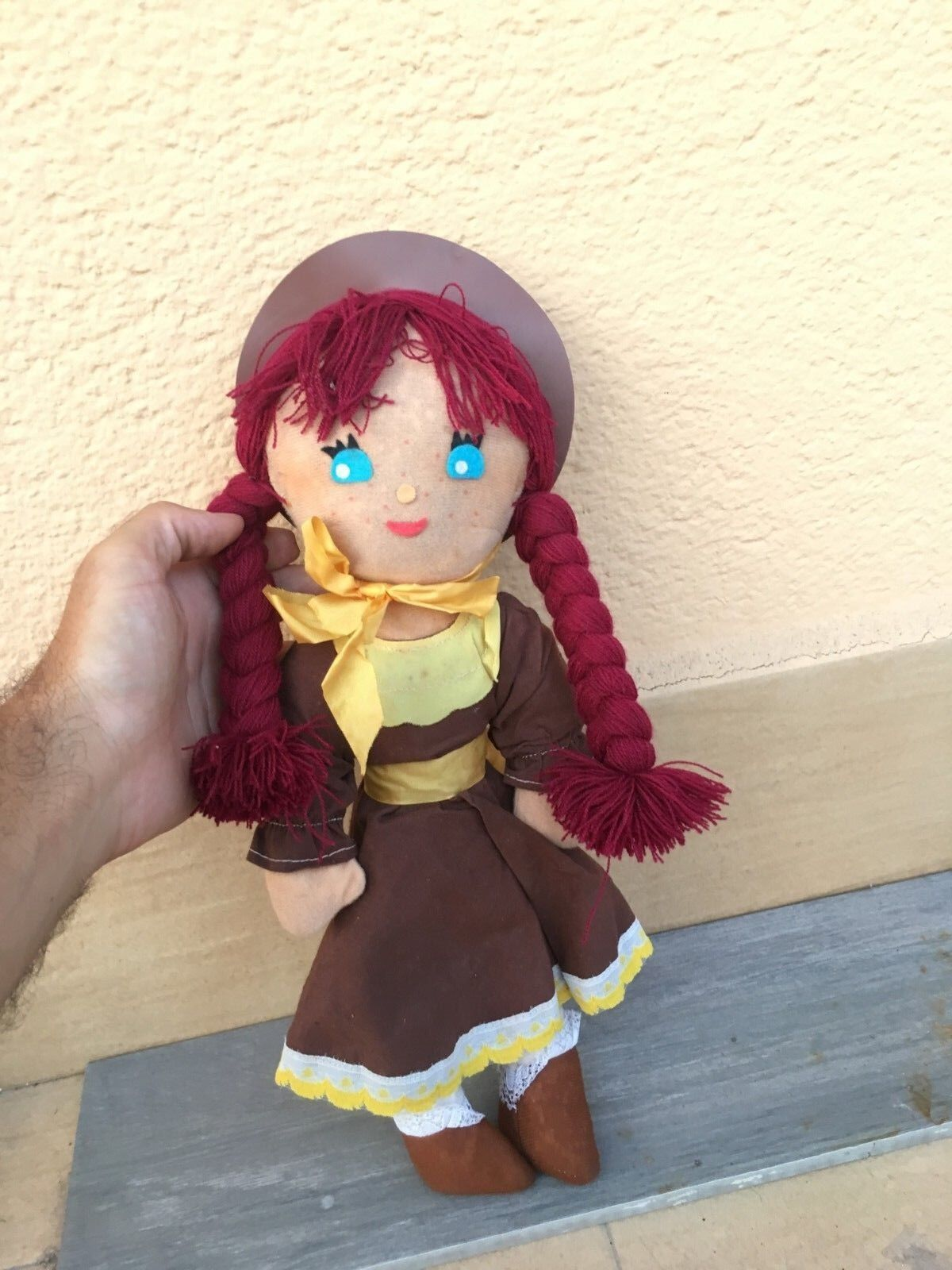 QUENUM poupée ANNA DE CHEVEUX ROSSI EN TISSU tissu RAG DOLL anime manga