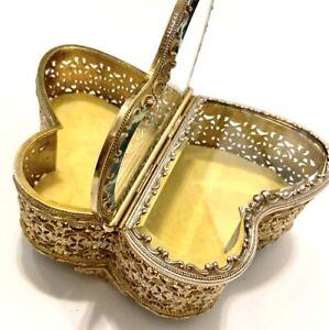 Butterfly-Shaped-Filigree-Ormolu-Brass-Bevel-Glass-Jewelry-Casket-Box-Handmade