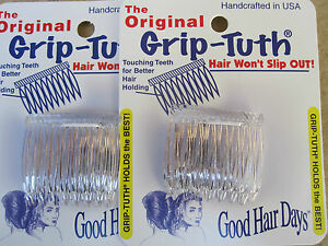 2-Sets-of-2-Clear-Grip-Tuth-Side-Comb-1-1-2-034-Made-in-USA-Good-Hair-Days-40072