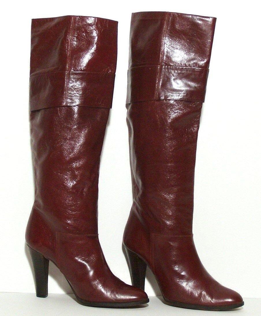 Fab Ladies Handmade in Spain Fashion stivali Cordovan Gloss Leather Ladies 7 1 2 M
