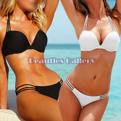 Women Lady Bandage Swimwear Push-Up Padded Bra Top Bottom Beach Suit Bikini Sets