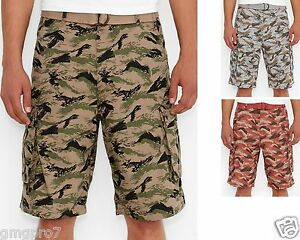 79853e39 Levis Leaf Camo Belted cotton Snap Cargo shorts 30 31 32 33 34 36 38 ...