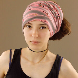 Holey-Tube-Head-Wrap-Headband-Durag-Bandana-Extra-Wide-Stretch-Salmon-Pink-Grey