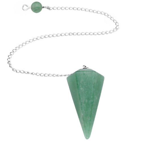 1pc Crystal Gemstone Pendulum Dowsing Pyramid Healing Point Chakra Reiki Pendant