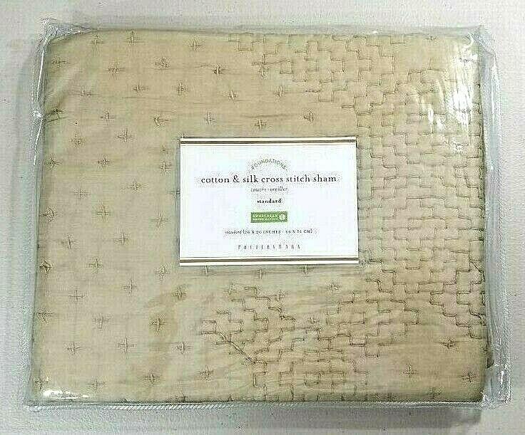Pottery Barn Cotton & Silk Cross Stitch Standard Sham Taupe NEW
