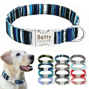 Custom-Nylon-Personalized-Dog-Collar-Small-Large-Heavy-Duty-Buckle-Engraved-FREE