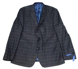 Vince Camuto Mens Blazer Gray Size 38 Plaid Slim Fit Two Button Jacket $360 216