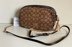 NEW-COACH-OUTLINE-SIGNATURE-BROWN-ISLA-GOLD-CHAIN-CROSSBODY-SLING-BAG-275-SALE