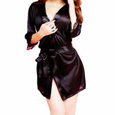 New Women Satin Lingerie Robe Sleepwear Nightwear Kimono Gown Night Dress Set