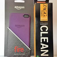 Amazon Fire Phone Protective Hard Cover Case Purple + Free Zagg Foam Cleaner