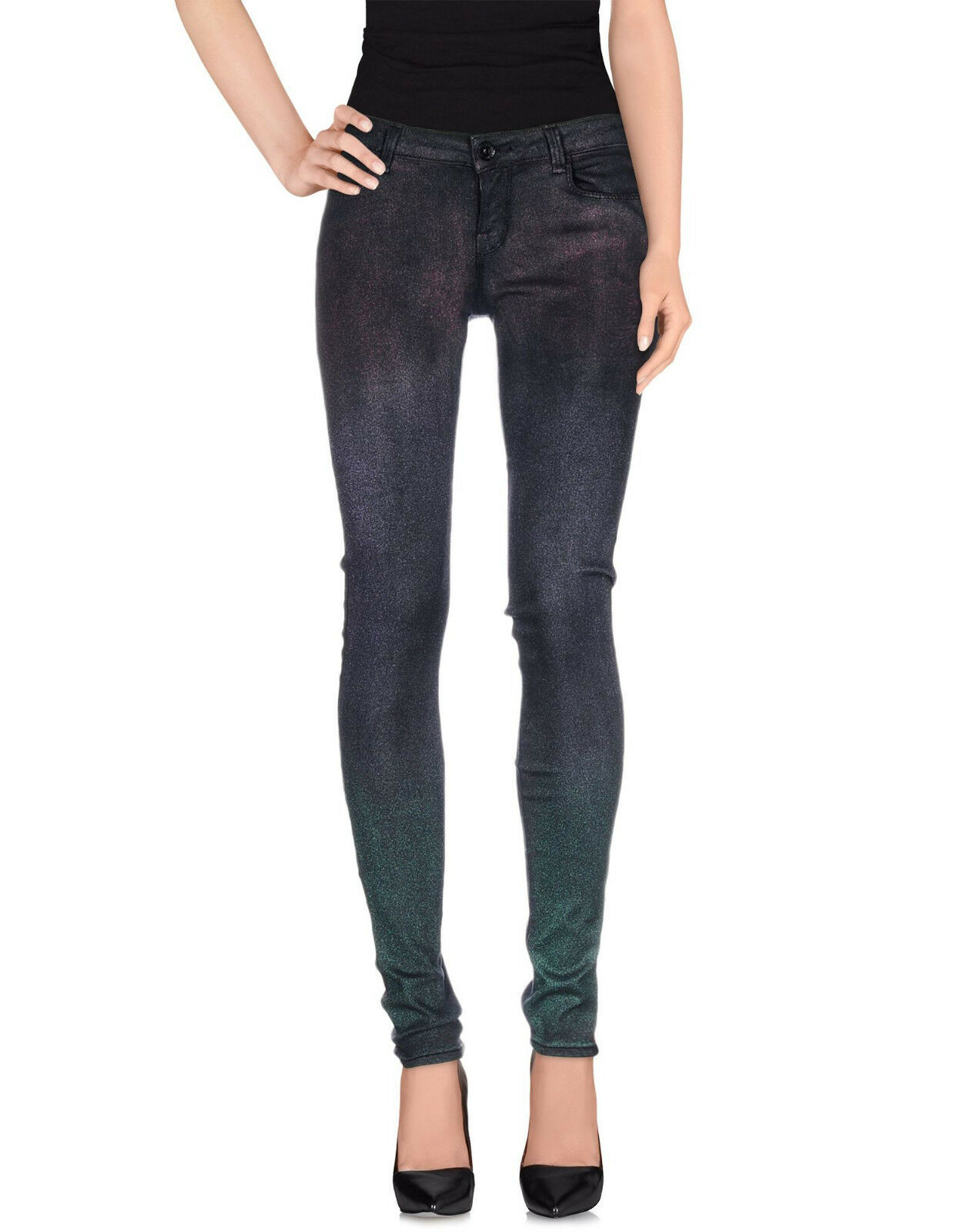 Guess Starlet Skinny Stretch Performance Denim Pants Lamé Shimmering Size L NWT