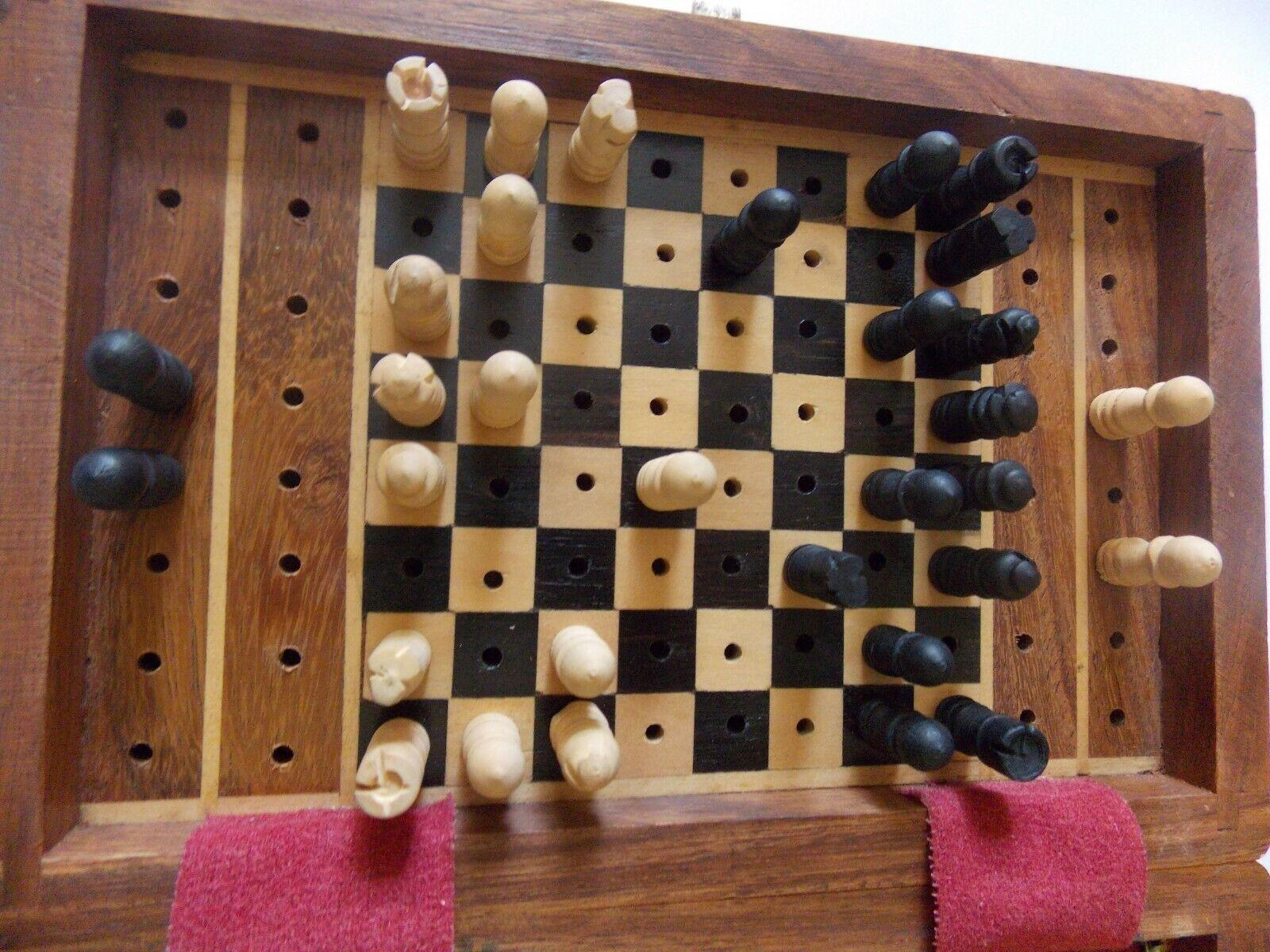 Chess voyage  Set Handmade boisen Board vintage pliant portable. PEG PIECES  meilleure qualité