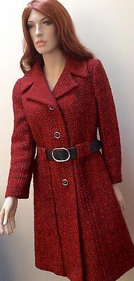 1970 S Di Alta Classe London Arancione Tweed Vestito E Cappotto Set-mostra Il Titolo Originale