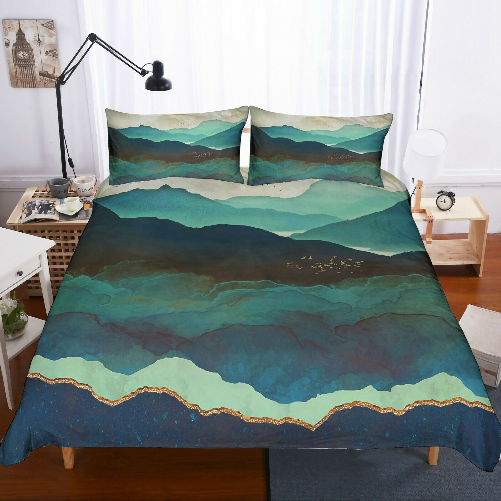 3D Abstract WaterFarbe Mountains Quilt Startseite Set Bettding Duvet Startseite Pillow 11