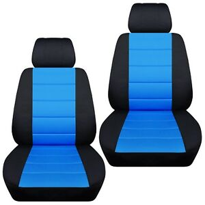 Fits-2013-2018-Toyota-RAV4-front-set-car-seat-covers-black-and-light-blue