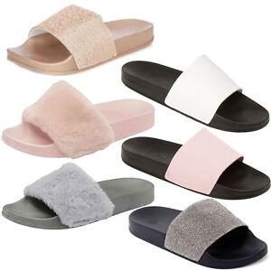 Womens-Ladies-Flat-Fluffy-Flip-Flops-Faux-Fur-Slidders-Slippers-Slip-On-Shoes-UK